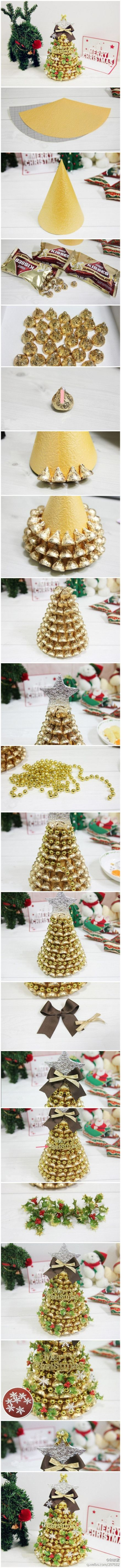 DIY Gold Kisses Christmas Tree.