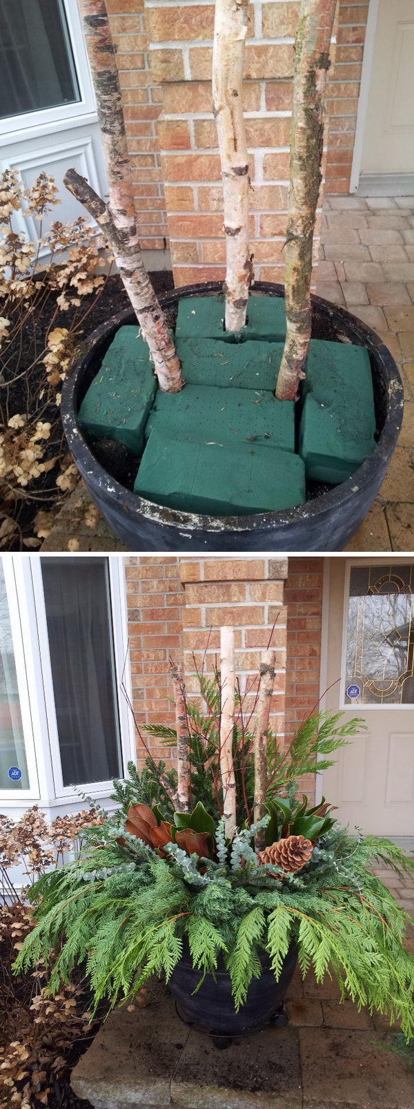 diy outdoor christmas planter