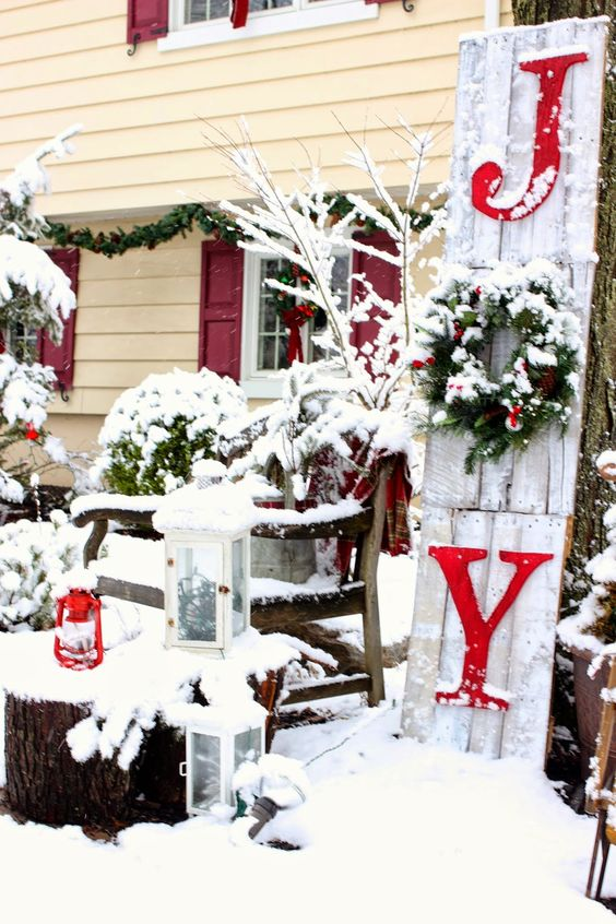 joy sign made from pallet wood for outdoor christmas decor