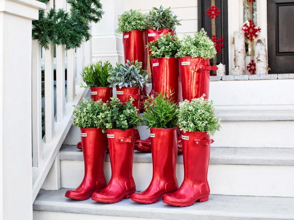 Outdoor Christmas Decoration with Red Boots.