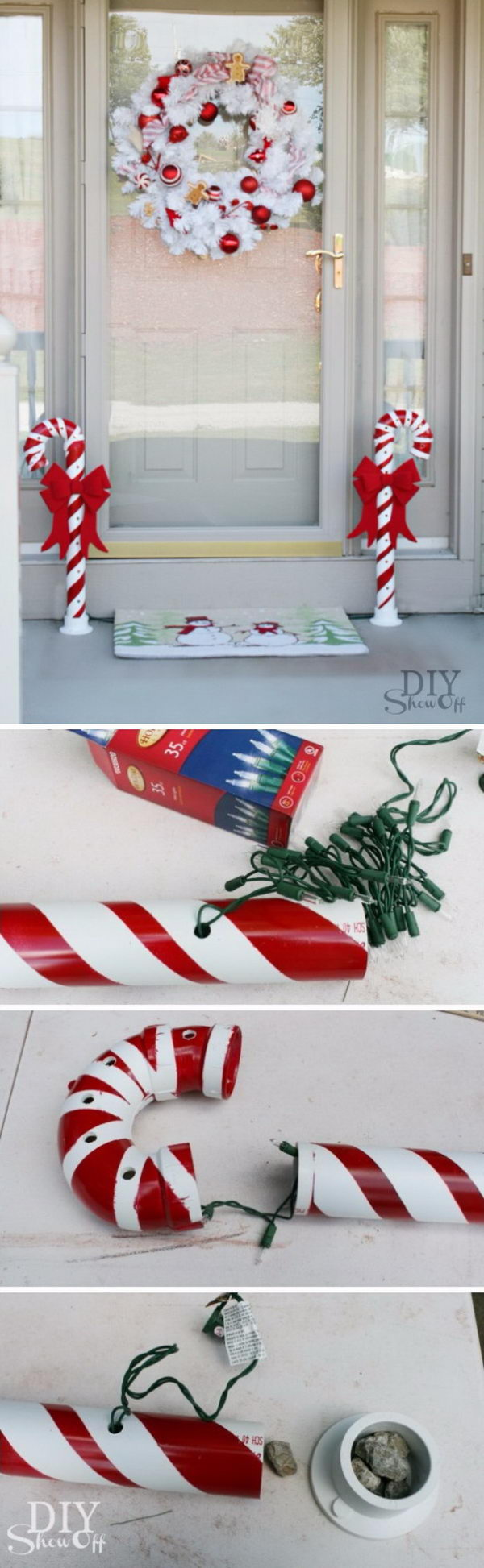 candy canes made from pvc pipes - Candy Cane Outdoor Christmas Decorations