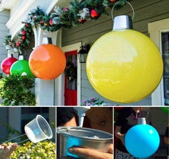 Giant Christmas Ornaments.