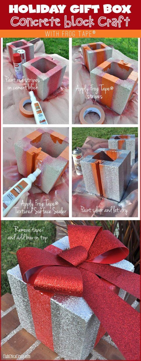 DIY Holiday Gift Box Concrete Brick.