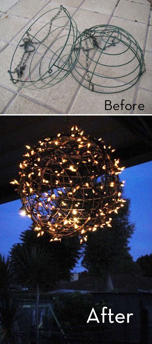 DIY Fairy Light Globe from Wire Baskets.