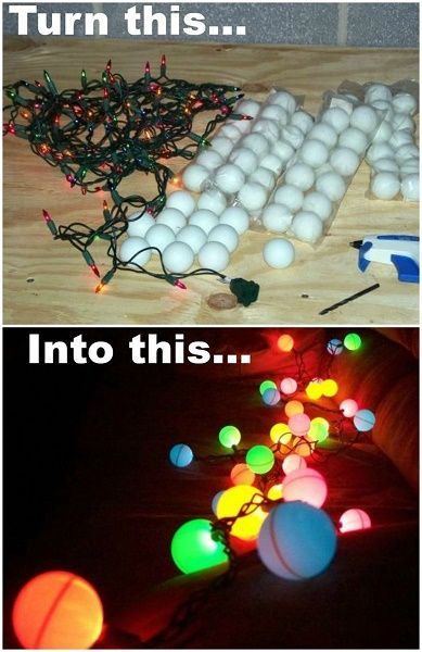 Ping Pong Balls over String Lights.
