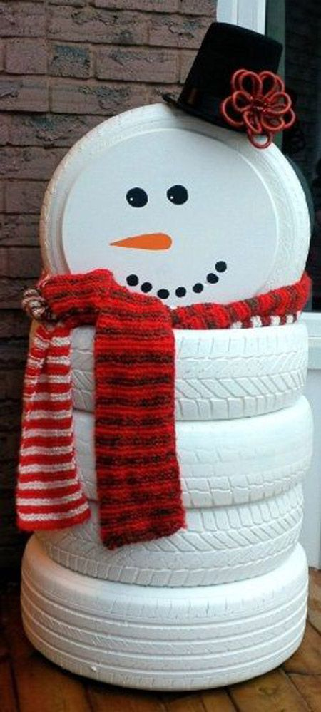 diy snowman made of tires
