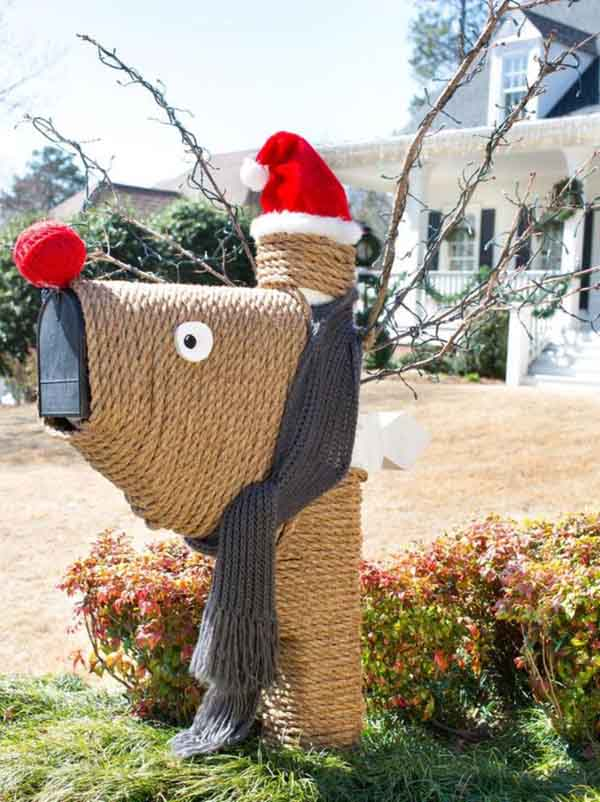 christmas mailbox decorated as a reindeer