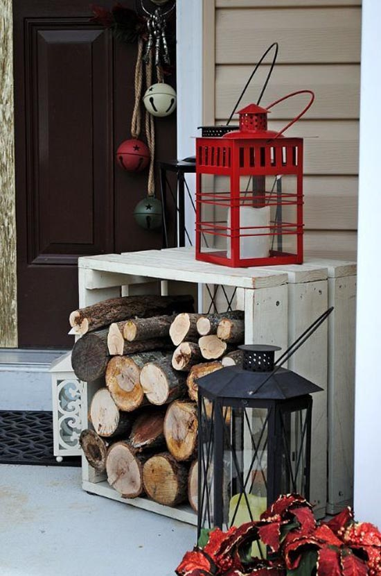 recycled wood crate and birch branches decorated holiday porch - Wooden Outdoor Christmas Decorations