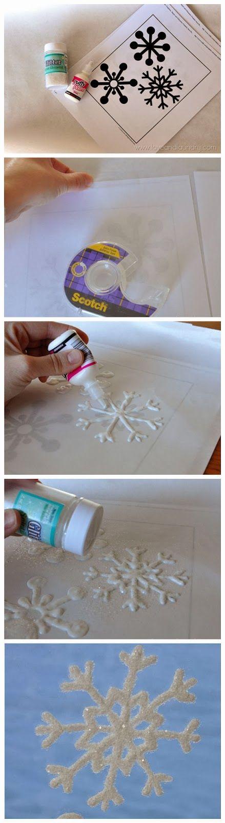 DIY Glitter Snowflake Window Clings.