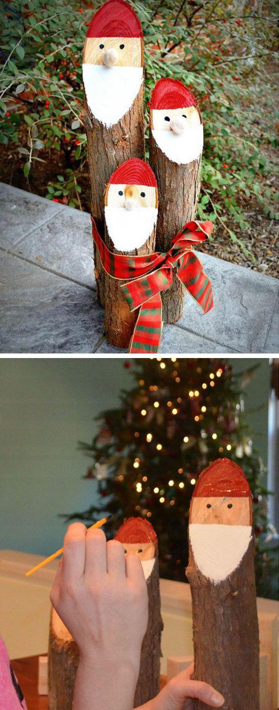 DIY Log Santas.