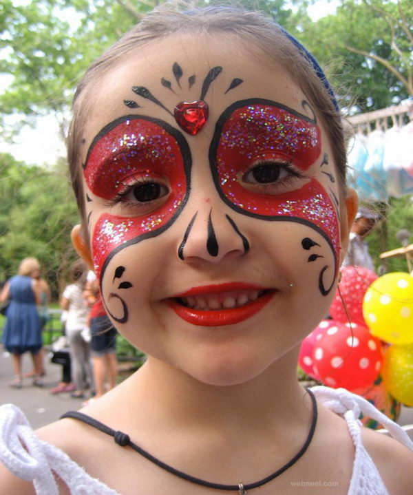 Red Princess Face Painting.