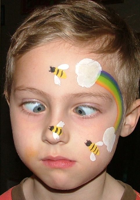 Bee And Rainbow Face Painting Design.