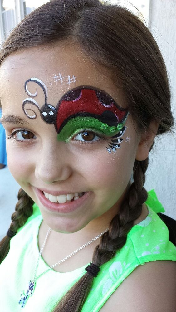 Lady Bug Eye Face Paint.