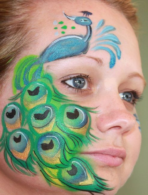 Peacock Face Painting.