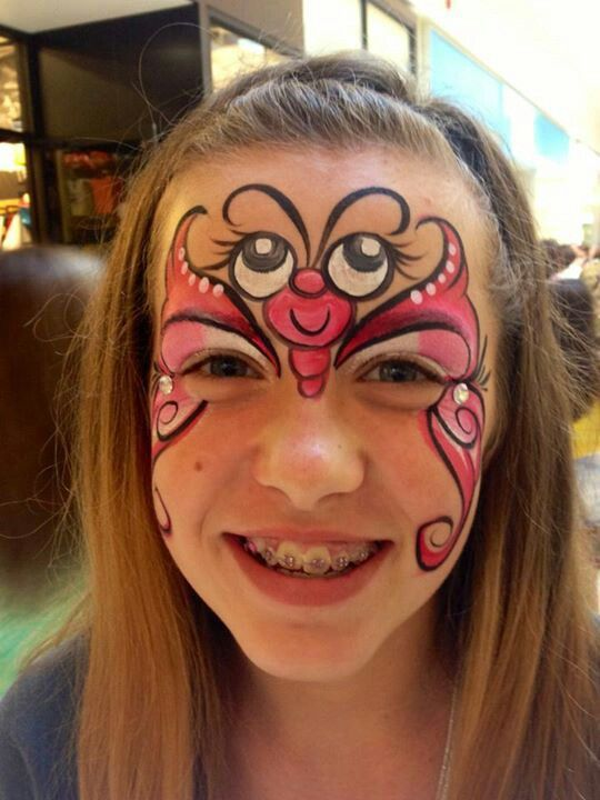 Butterfly With Googly Eyes Face Painting.