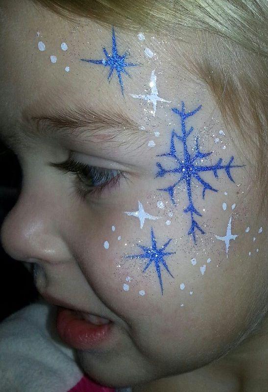 Frozen Princess Snowflake Face Painting.