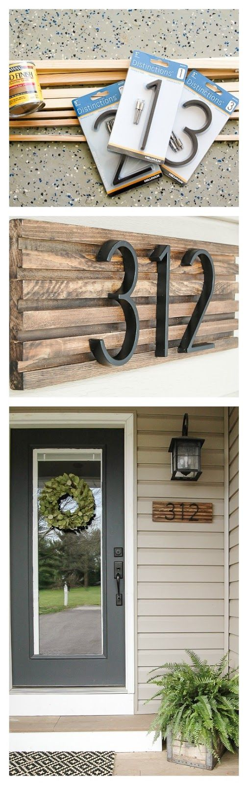 DIY House Number Sign Using Square Dowels.