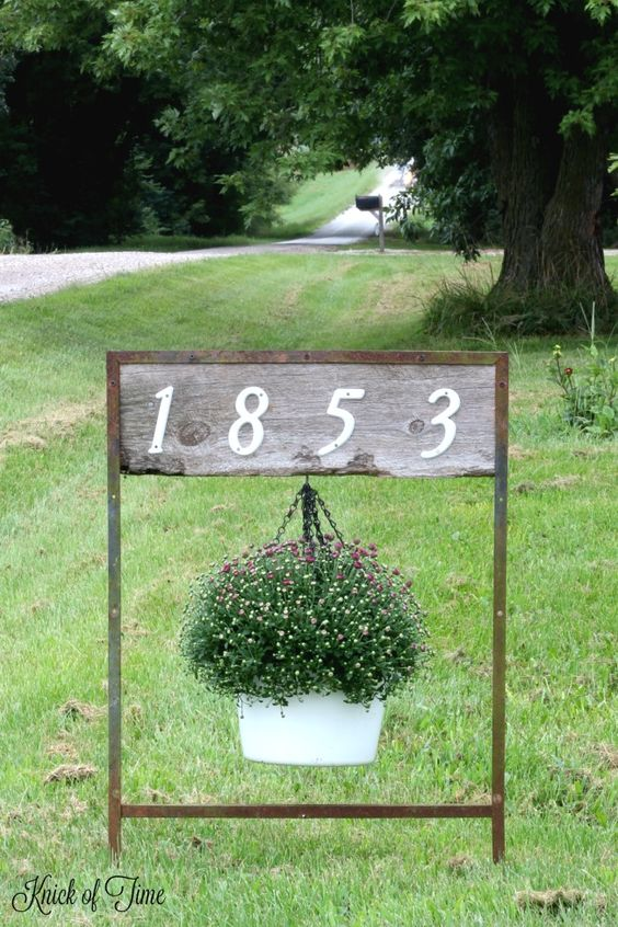 DIY House Numbers Sign Hanging Planter.
