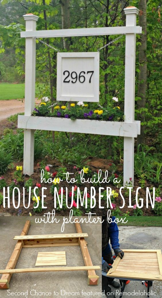 DIY House Number Sign With Planter Box.