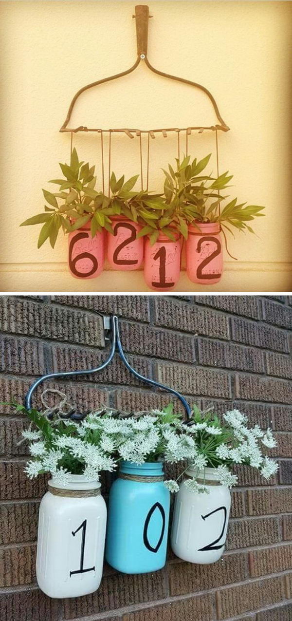 DIY House Number Made Out Of An Old Rake Head And Mason Jar Planters.