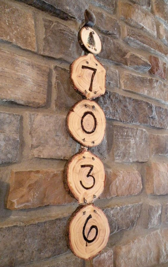 Woodburned Pine Tree House Numbers.