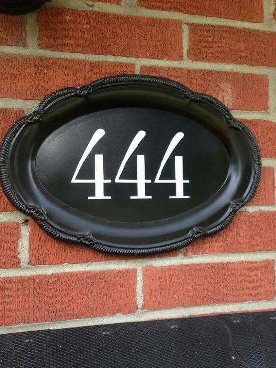 Repurposed Silver Tray To Display Your House Number.