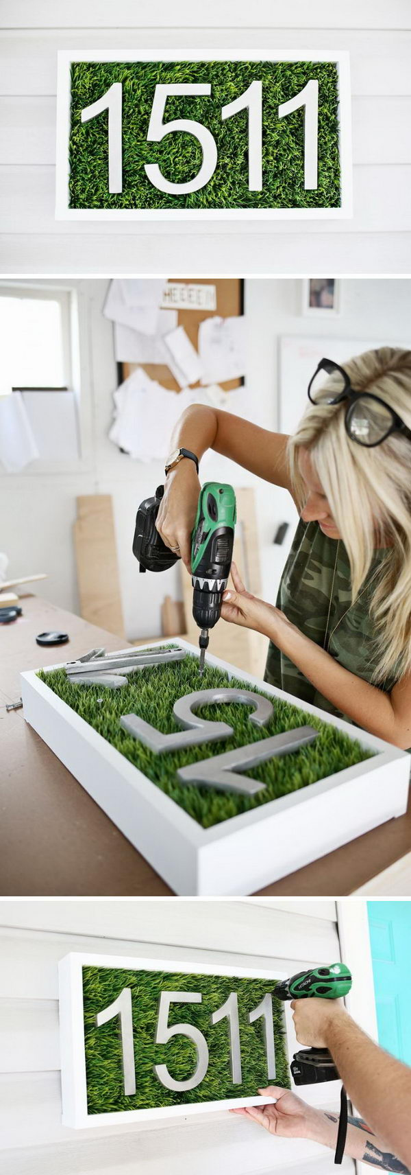 DIY Faux Grass House Number Display.