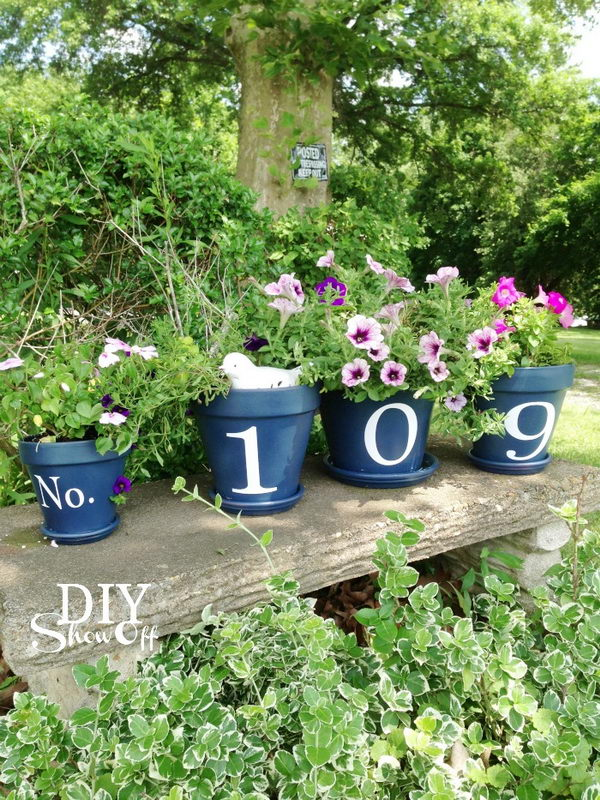 DIY Flower Pots House Number.