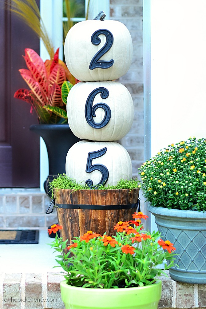 Pumpkin Topiary Displaying House Numbers.