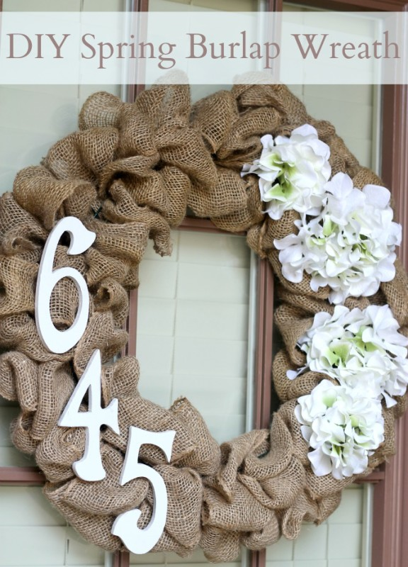 DIY Burlap Wreath With House Numbers.