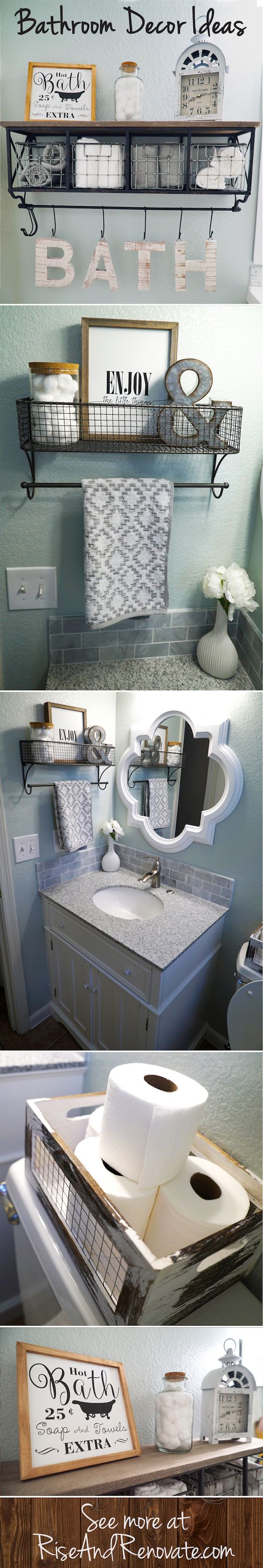 Bathroom Shelf With Wire Basket For Towel Storage.