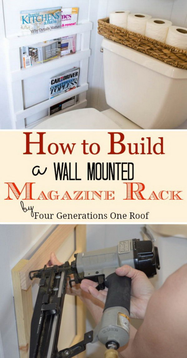 DIY Wall Mounted Magazine Rack for Bathroom.