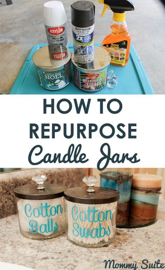 Repurpose Candle Jars Into Gorgeous Bathroom Organizers.