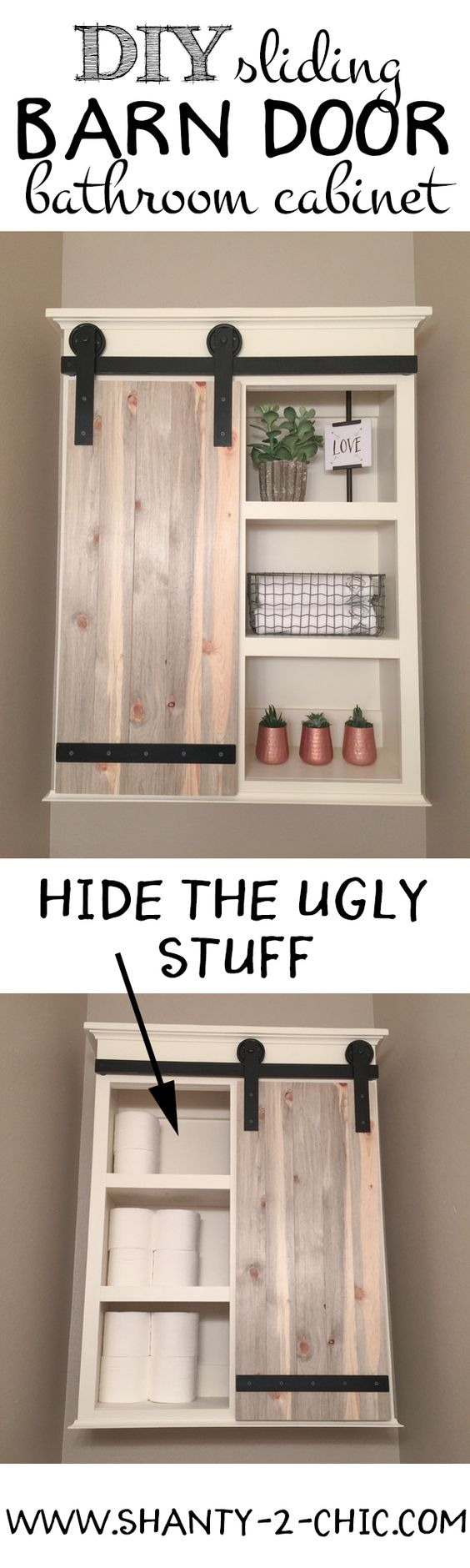 This DIY sliding barn door cabinet is the perfect mix of open shelving and hidden storage for the ugly stuff.