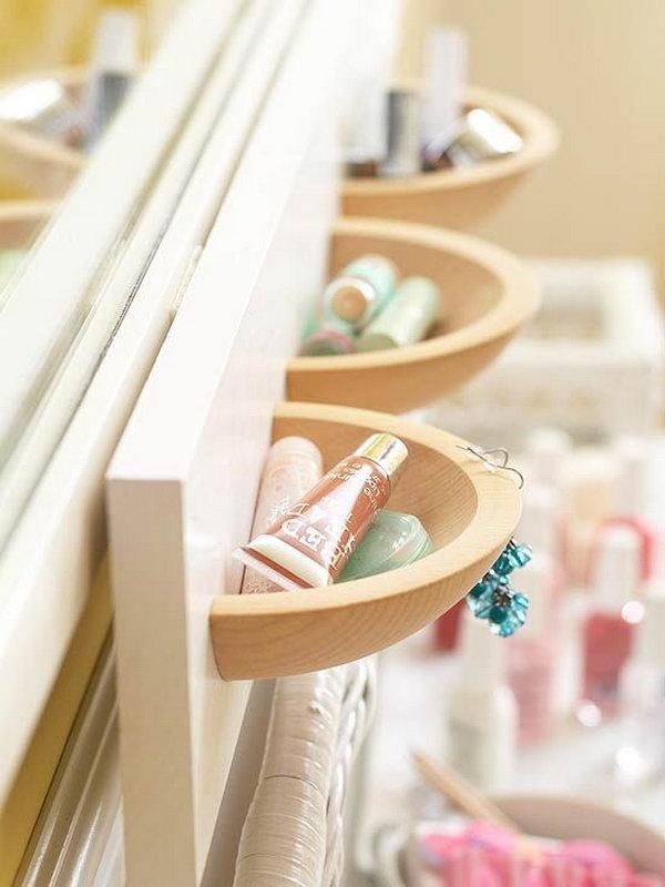 half cutted wooden bowls - Bathroom Storage Ideas