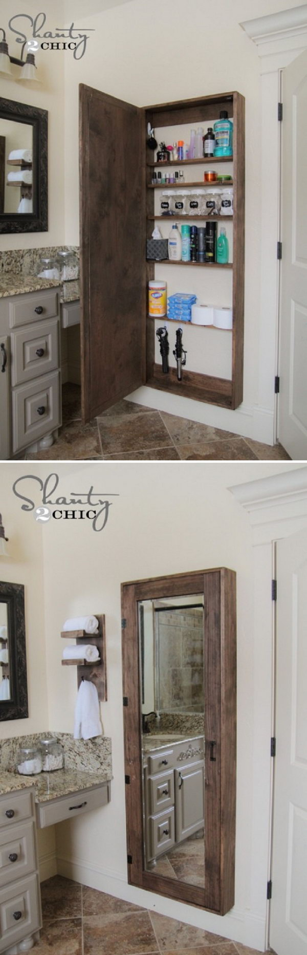 A big bathroom storage case behind the mirror to hold all the goodies.