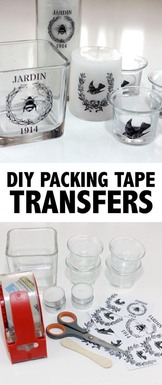 Transferências de fita de embalagem DIY para transferência de fotos em produtos vidreiros.