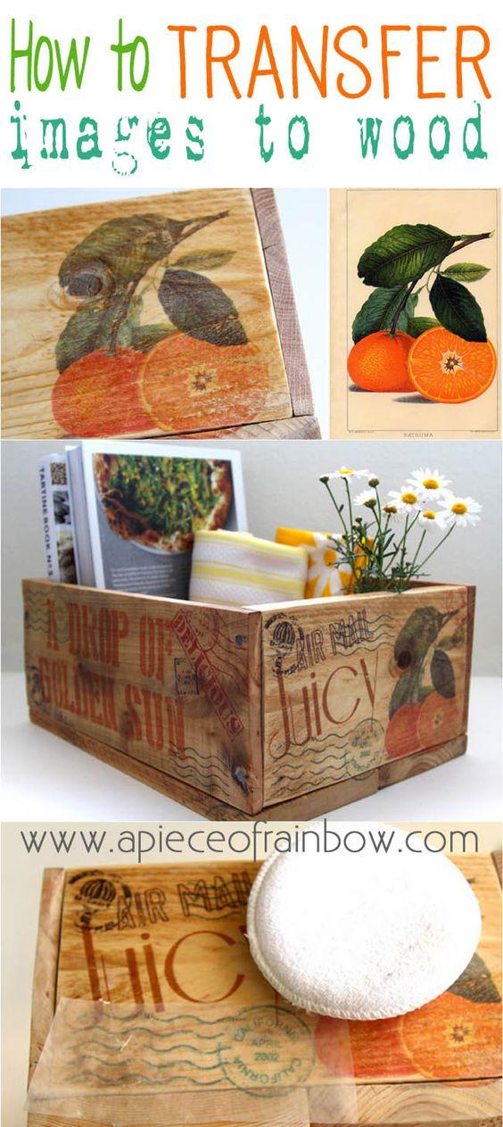 Transferência de imagem fácil para caixas de madeira de paletes.