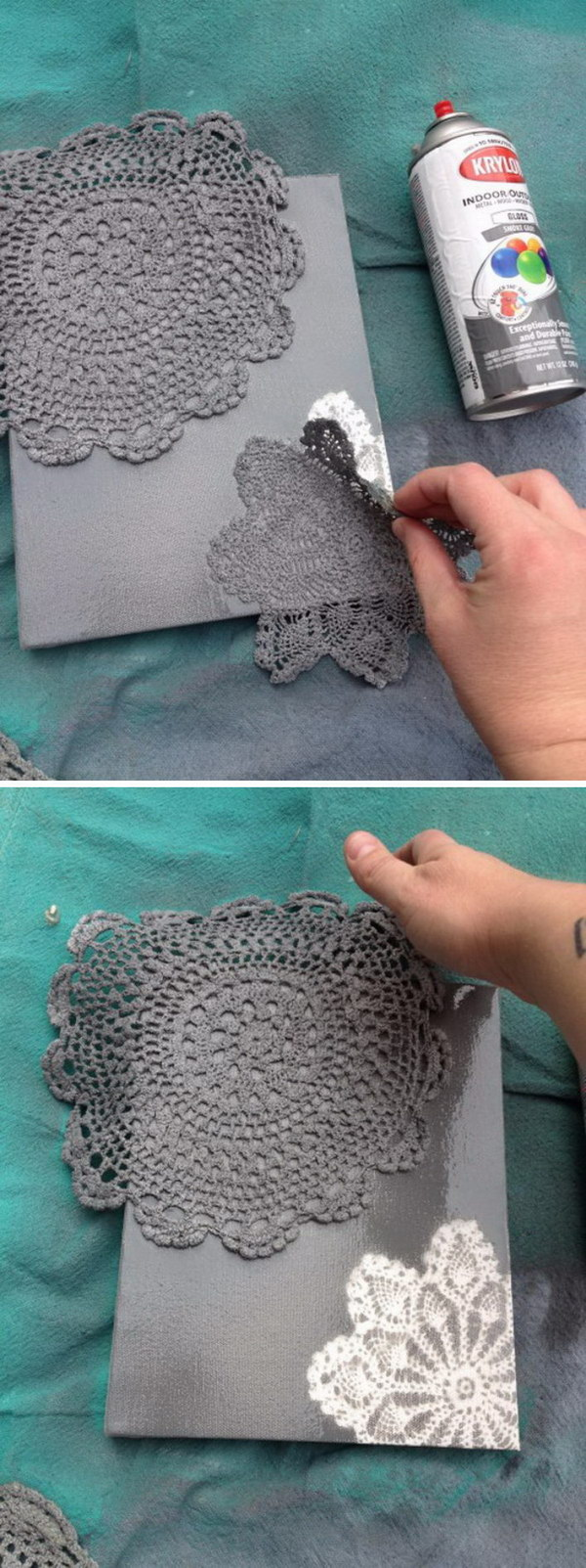 DIY Spray Pintado Doily Canvas.