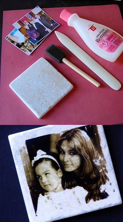Transferring pictures to tiles by Using Nail Polish Remover.