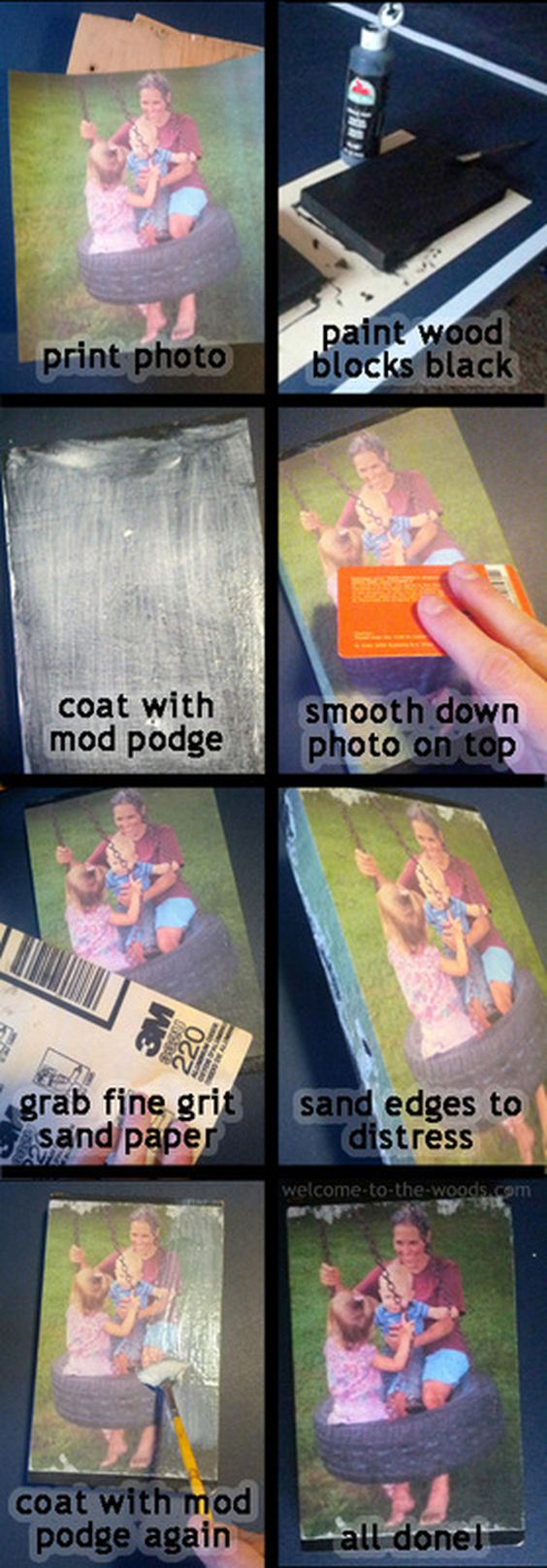 Mod Podge Photo Transfer Onto Wood.