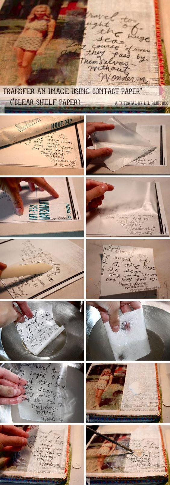 Transferência de imagens com papel de contato.