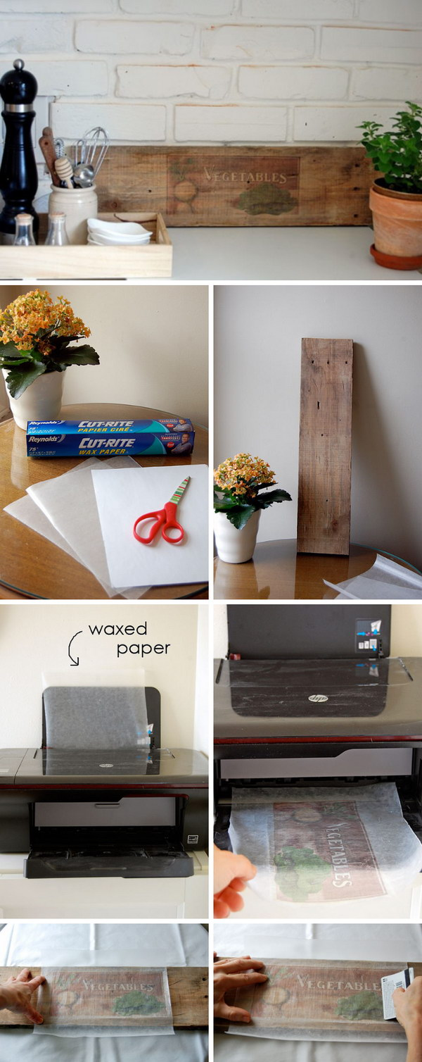 Transferência de papel encerado na madeira.