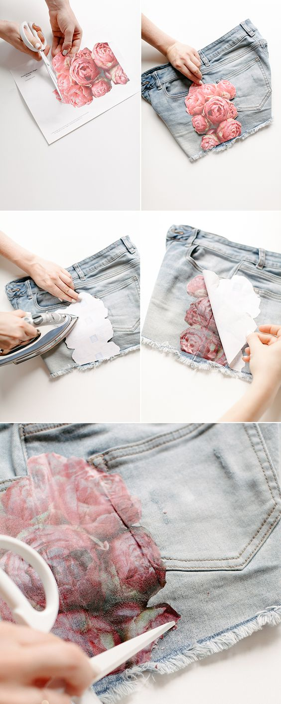 Easy Floral Photo Transfer DIY para Shorts.