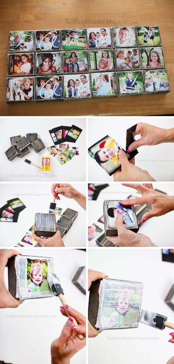 Blocos de fotos DIY.