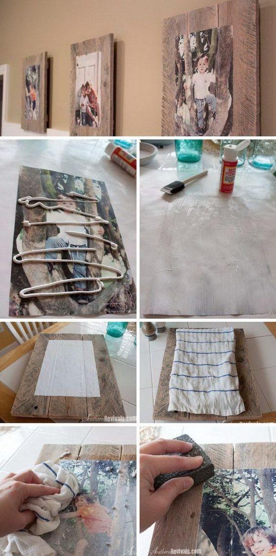 Transferir foto para quadros de paletes de madeira com cola.
