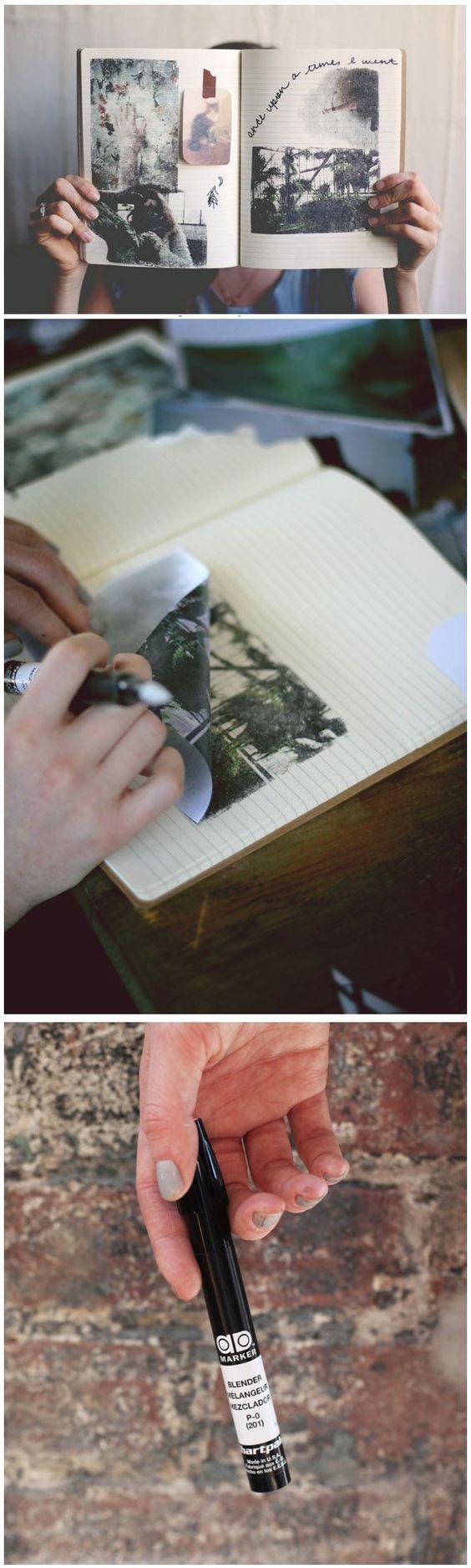 Transferências de fotos instantâneas com canetas de liquidificador.