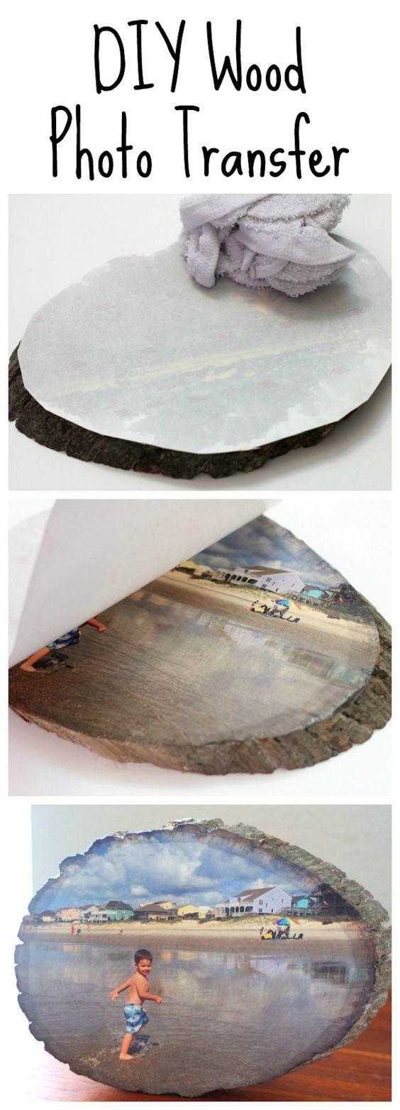 Transferência de foto de fatia de madeira DIY.