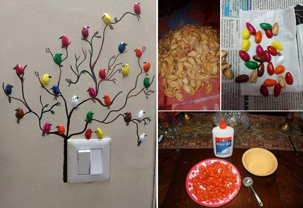 DIY Pista Shell Bird For Wall Decoration.
