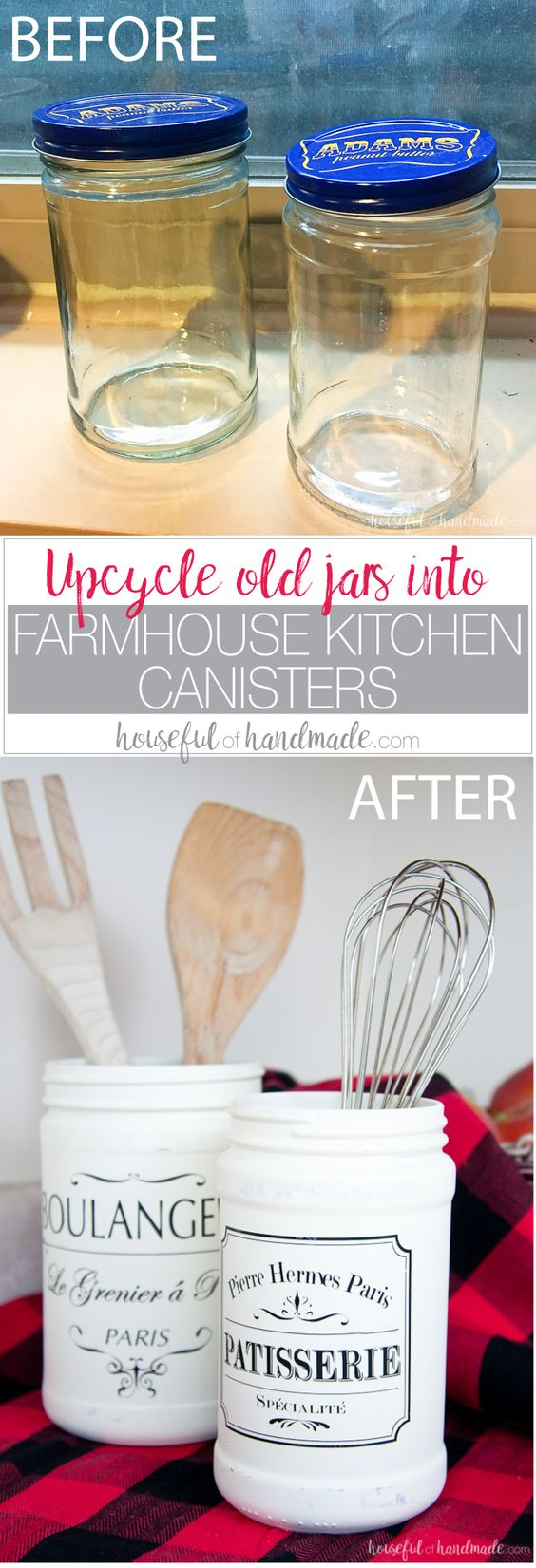 Turn Old Jars Into Farmhouse Kitchen Canister.